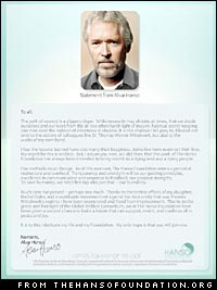 Alvar Hanso's letter at www.thehansofoundation.org